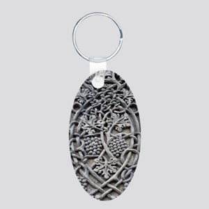 Detail of the carving on Ca Aluminum Oval Keychain