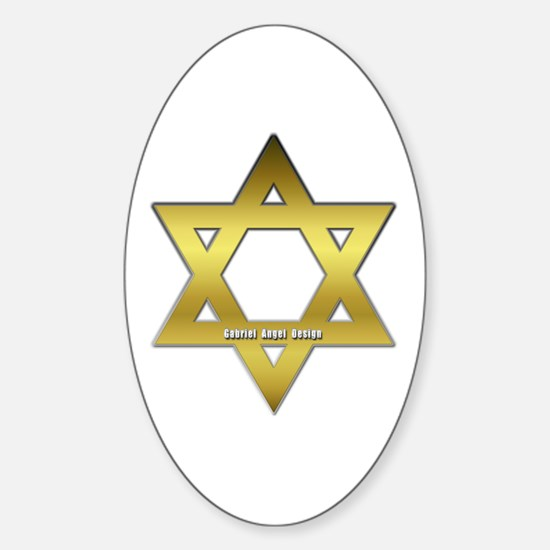 Gold Star of David Oval Decal
