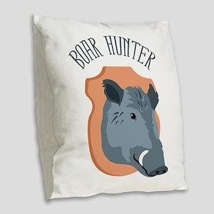 BOAR HUNTER Burlap Throw Pillow