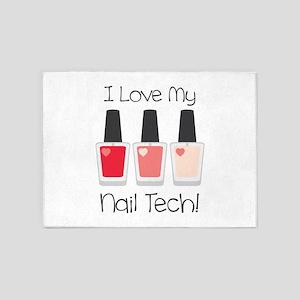 I Love My Nail Tech! 5'x7'Area Rug
