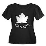 Canada M Women's Plus Size Scoop Neck Dark T-Shirt