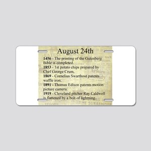August 24th Aluminum License Plate