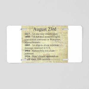 August 23rd Aluminum License Plate