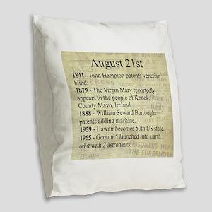 August 21st Burlap Throw Pillow