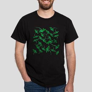 Dragonflies Neon Green Dark T-Shirt
