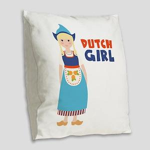 DUTCH GIRL Burlap Throw Pillow
