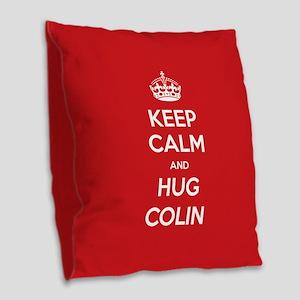 Hug Colin Burlap Throw Pillow