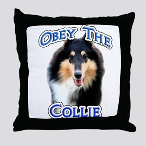 Collie Obey Throw Pillow