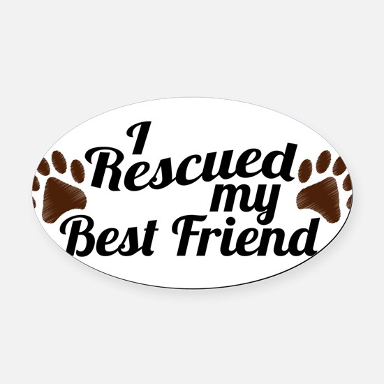 Cute My favorite breed is adopted Oval Car Magnet