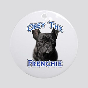 Frenchie Obey Ornament (Round)