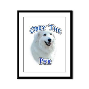 Pyrenees Obey Framed Panel Print