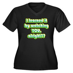 By Watching You Women's Plus Size V-Neck Dark T-Sh