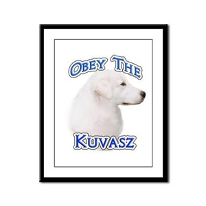 Kuvasz Obey Framed Panel Print