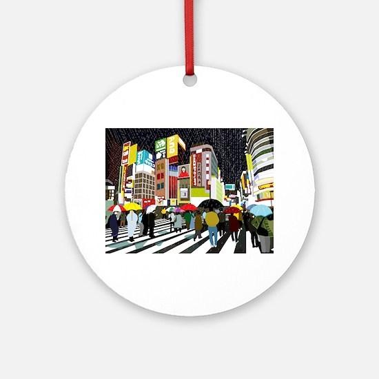 UMBRELLAS IN TOKYO RAIN Ornament (Round)