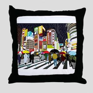 UMBRELLAS IN TOKYO RAIN Throw Pillow