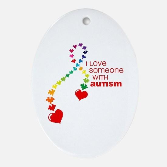 Autism Love Ribbon Ornament (Oval)