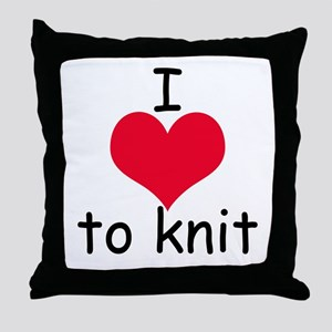 I love to knit Throw Pillow