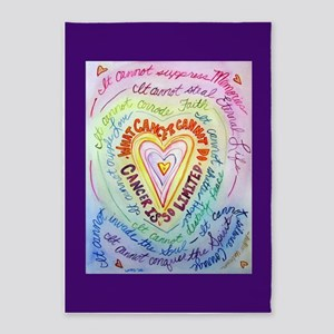 Rainbow Heart Cancer 5'x7'Area Rug