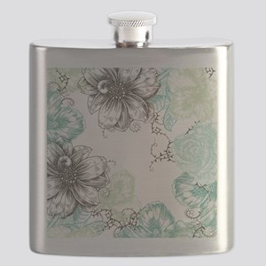 Modern Floral Vintage Graphic Flowers Aqua Mint Bl