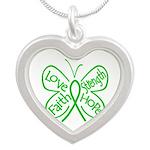 Kidney Disease Silver Heart Necklace