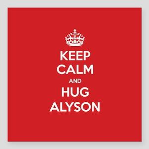 "Hug Alyson Square Car Magnet 3"" x 3"""