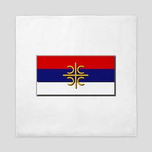 Flag of Serbian Cross Queen Duvet