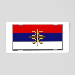 Flag of Serbian Cross Aluminum License Plate