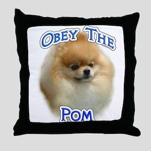 Pomeranian Obey Throw Pillow