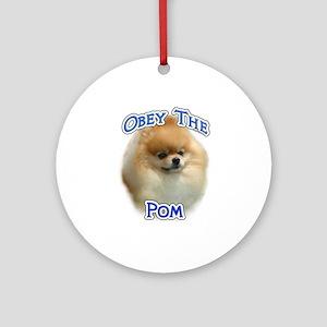 Pomeranian Obey Ornament (Round)