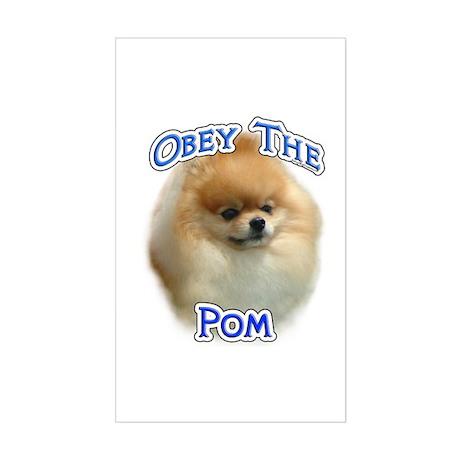 Pomeranian Obey Rectangle Sticker