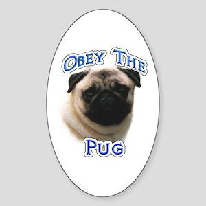 Pug Obey Oval Sticker