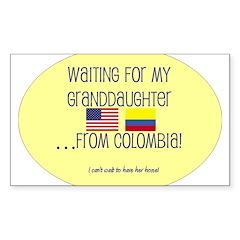 Waiting For My Granddaughter. Sticker (Rectangular