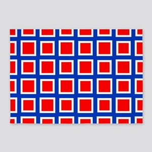 Red Square Grid Pattern 5'x7'Area Rug