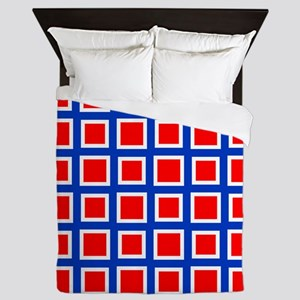 Red Square Grid Pattern Queen Duvet