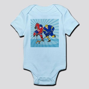 Ice Hockey Player Front With Stick Retro Body Suit