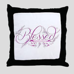 Blessed fuchsia flourish Throw Pillow