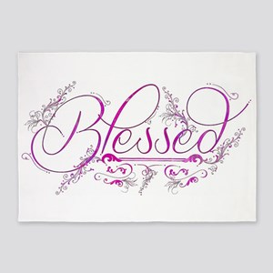 Blessed fuchsia flourish 5'x7'Area Rug