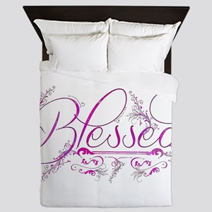 Blessed fuchsia flourish Queen Duvet