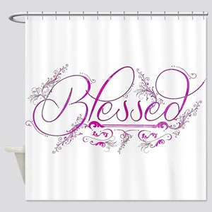 Blessed fuchsia flourish Shower Curtain