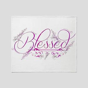 Blessed fuchsia flourish Throw Blanket