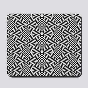 Black and White Star Pattern Mousepad