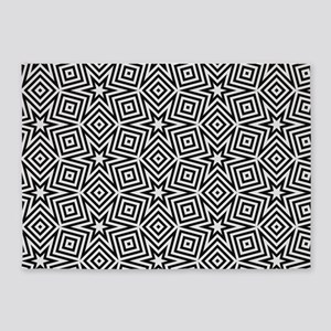 Black and White Star Pattern 5'x7'Area Rug