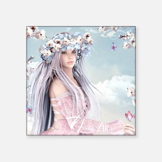 "Fairytale Girl Square Sticker 3"" x 3"""