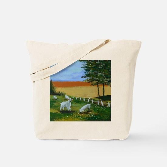 Little lambs in a field Tote Bag