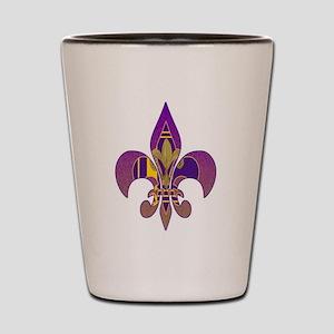 Purple and gold fleur de lis Shot Glass