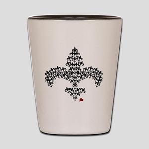 Fleur de lis lace art Shot Glass
