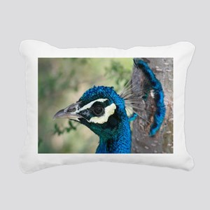 Peacock Blue Head with C Rectangular Canvas Pillow