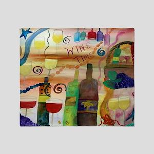 Wine time art Throw Blanket