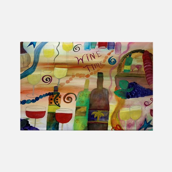 Wine time art Rectangle Magnet