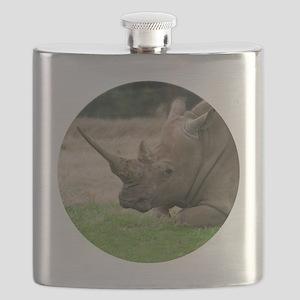 Rhinoceros Photo with Huge  Horn Flask